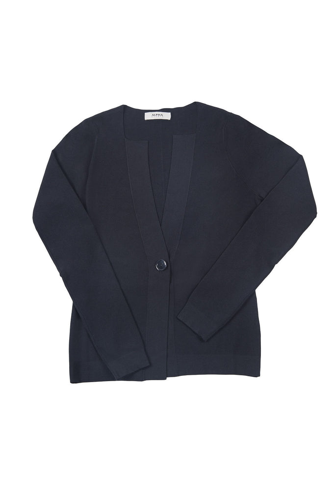 One button navy cardigan
