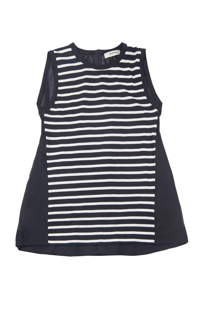 Stripe sleeveless crew neck top