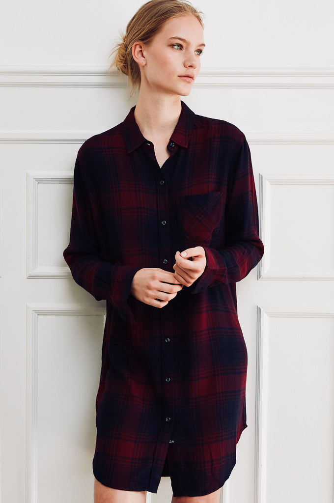 Ultra soft, long sleeve button down shirt-dress. Single layer, single chest pocket.