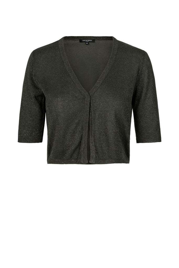 Women's black spark bolero with button detail branded Ilse Jacobsen at Peek Boutique