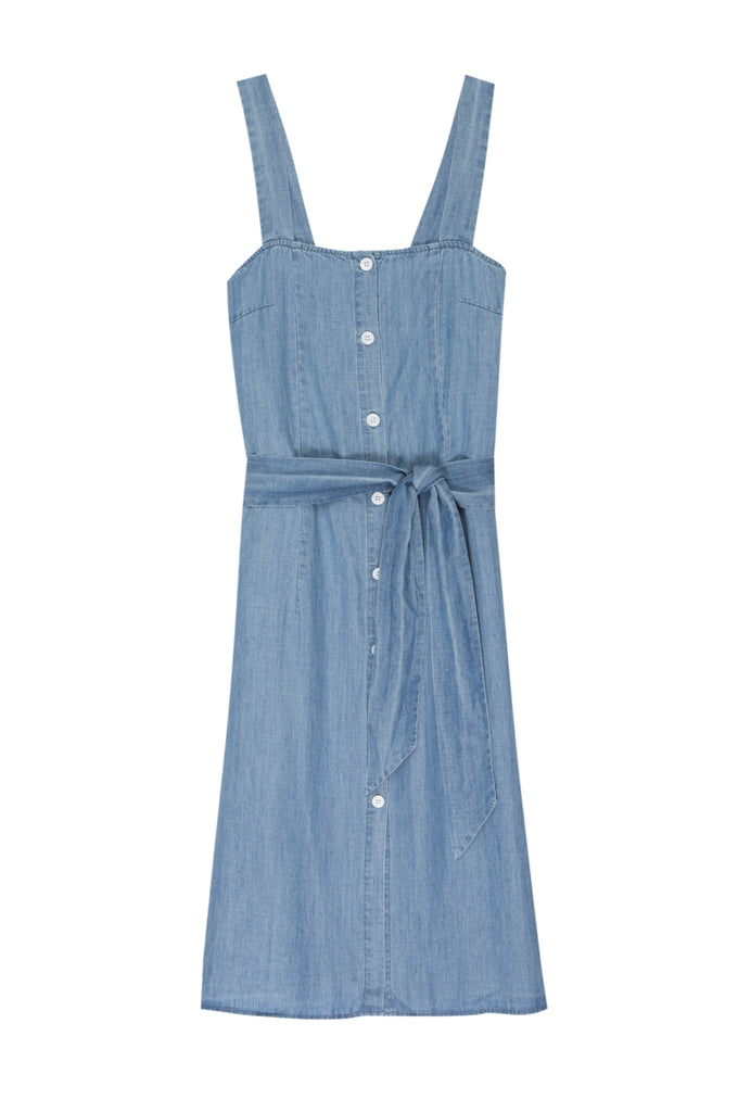 "Lovely sleeveless, button-down front, midi-length column tank dress featuring 10 3/4"" side slits, shell buttons, and a removable belt from Rails. Made from lightweight linen and fully lined with soft 100% rayon fabric. Sleek sophistication meets easy wearability with this must-have new style."
