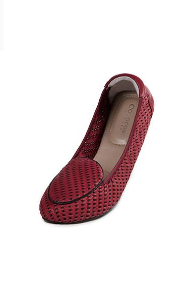 Women's berry and black foldable shoes by Coco rose at Peek Boutique
