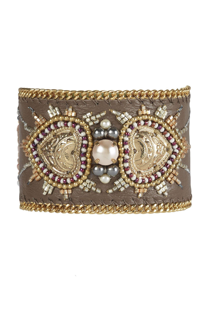 Women's brown and gold embellished cuff bracelet branded Buba London at Peek Boutique
