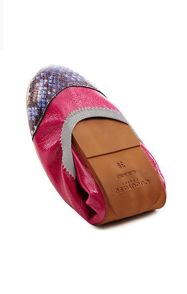 Women's pink and purple snake skin print foldable shoes branded Coco Rose at Peek Boutique