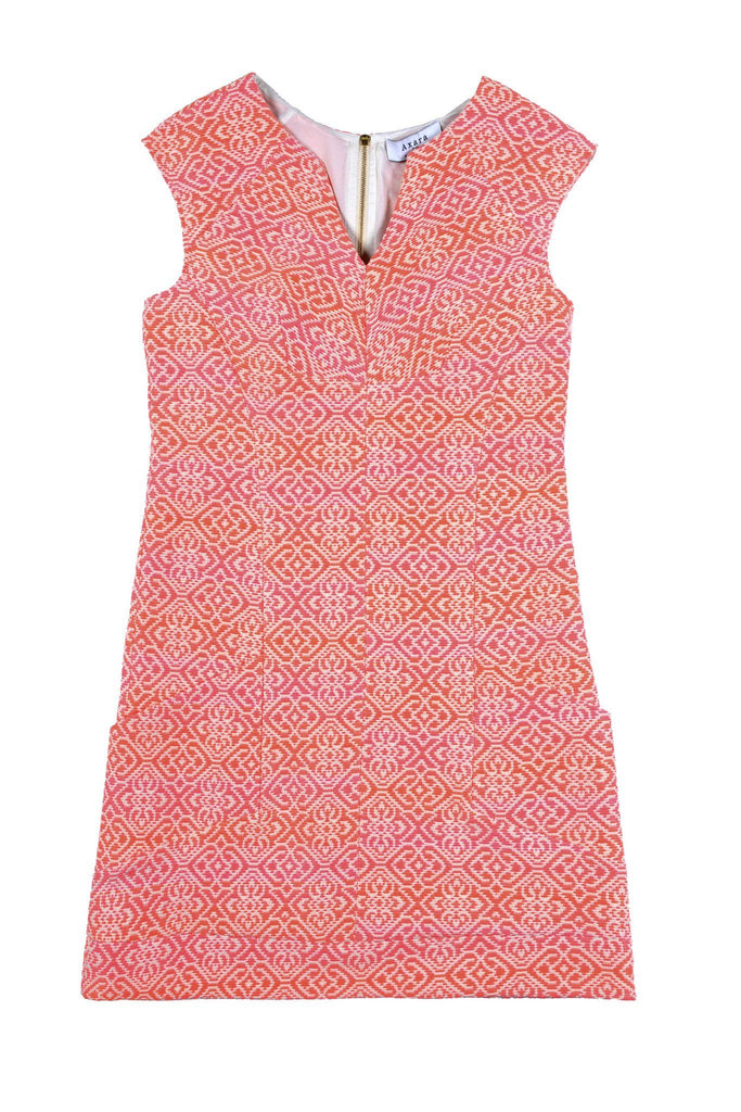Pocketed summer dress with coral and pink print and v neck detail by Axara at Peek Boutique