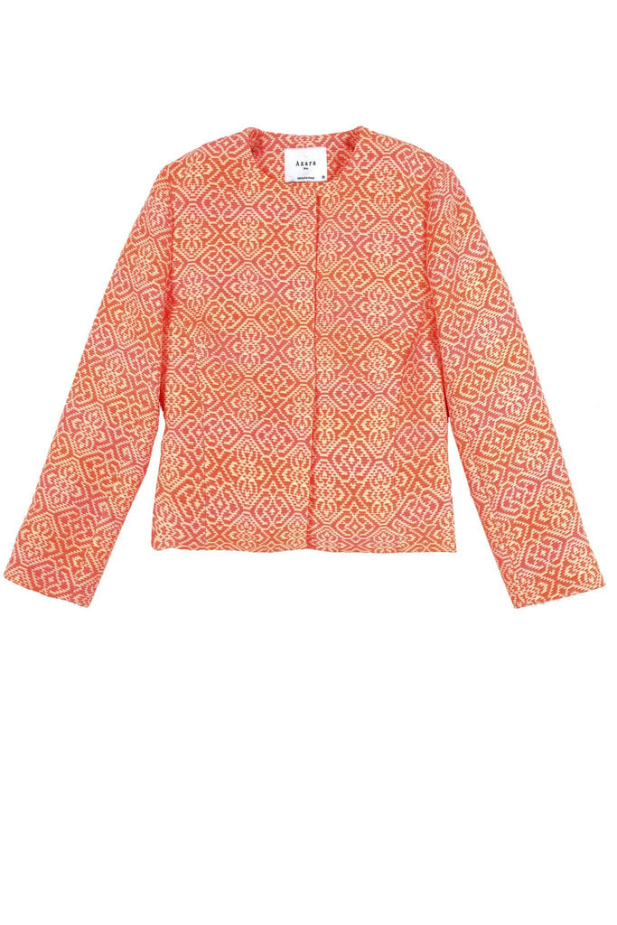 Summer coral and pink print open blazer by Axara at Peek Boutique