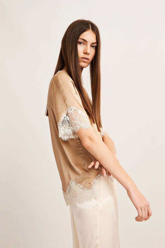 Delicate floaty nude top from Samsoe.
