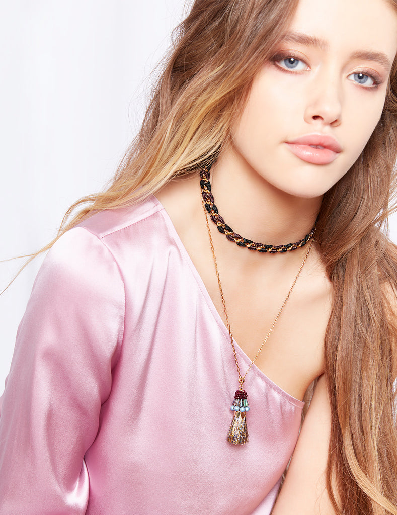 Gorgeous 18 karat gold plated chain choker from Nocturne with tassel detail.