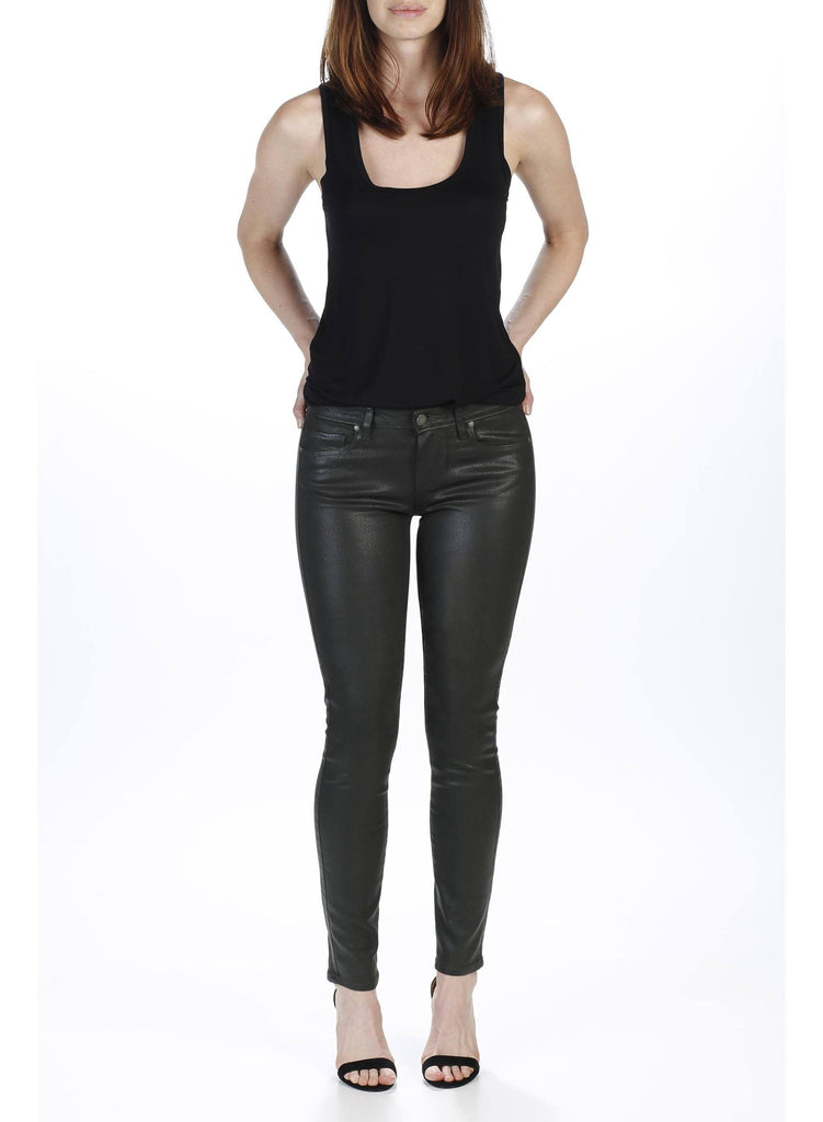 Paige's Verdugo Jean in Juniper combines the brand's transcend fiber technology with a super gloss pigment that combines the look of leather with a silhouette that you can live in. The mid-rise Verdugo sits at the waist and fits through the hip, thigh and ankle for a true skinny fit. This denim is crafted with the luxe, Juniper wax coating for a sleek look and true, rocker style.  52% Rayon 26% Cotton 18% Polyester 1% Spandex
