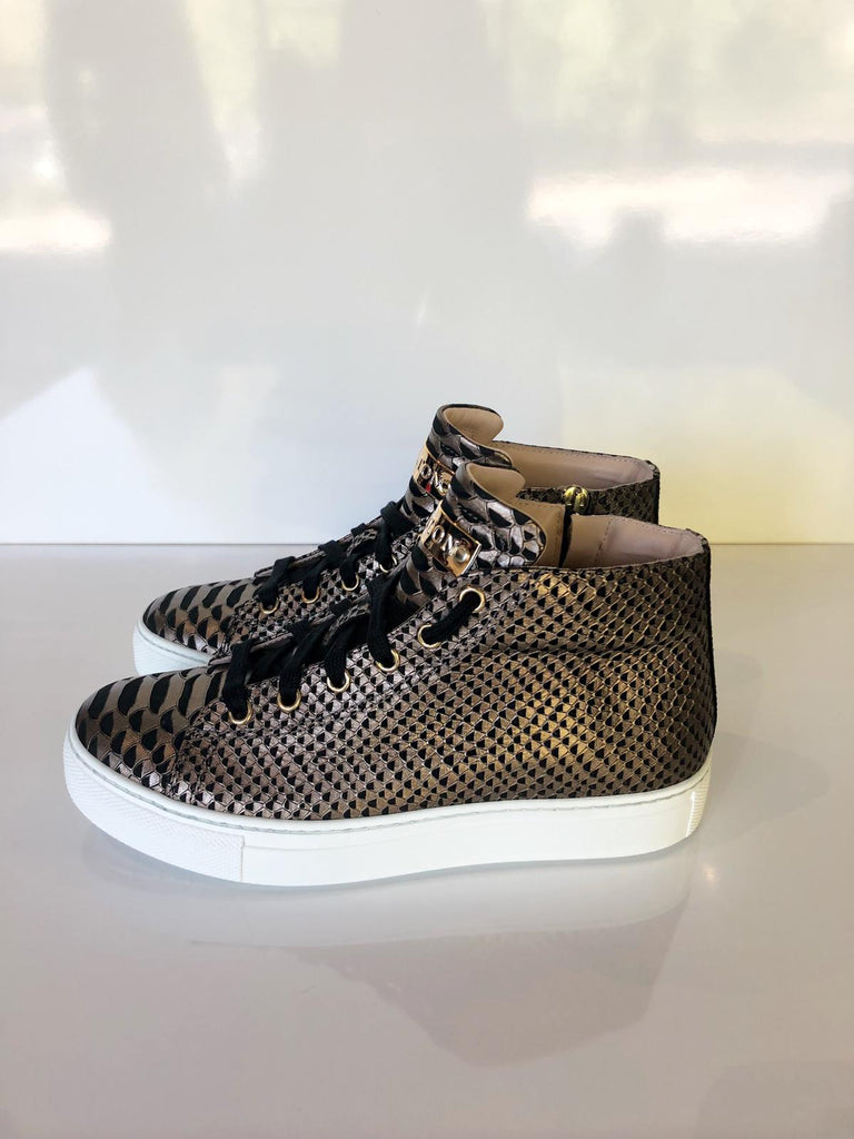 Bronze high top trainer