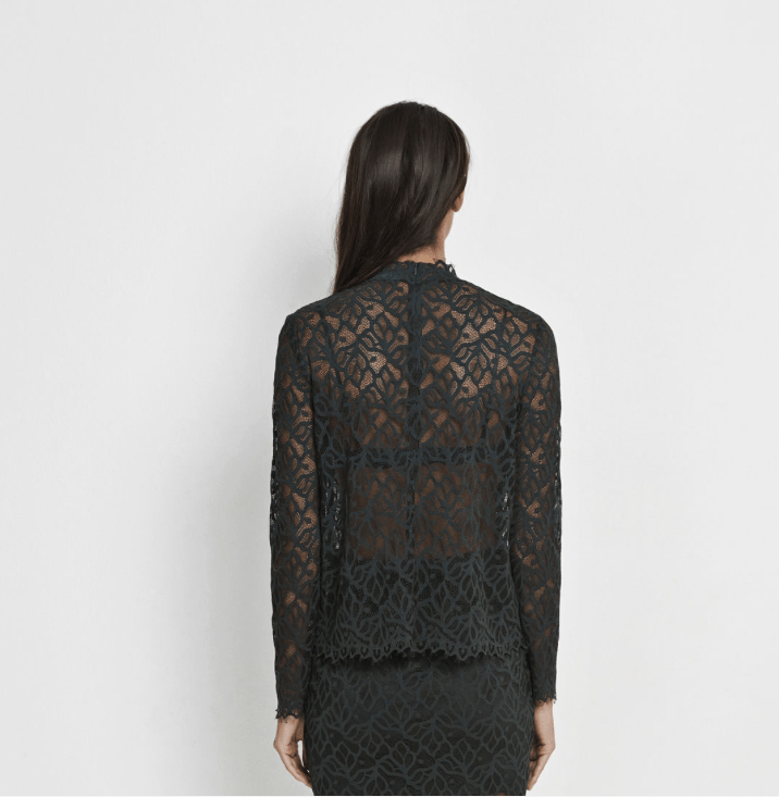 Ibi lace top in dark green