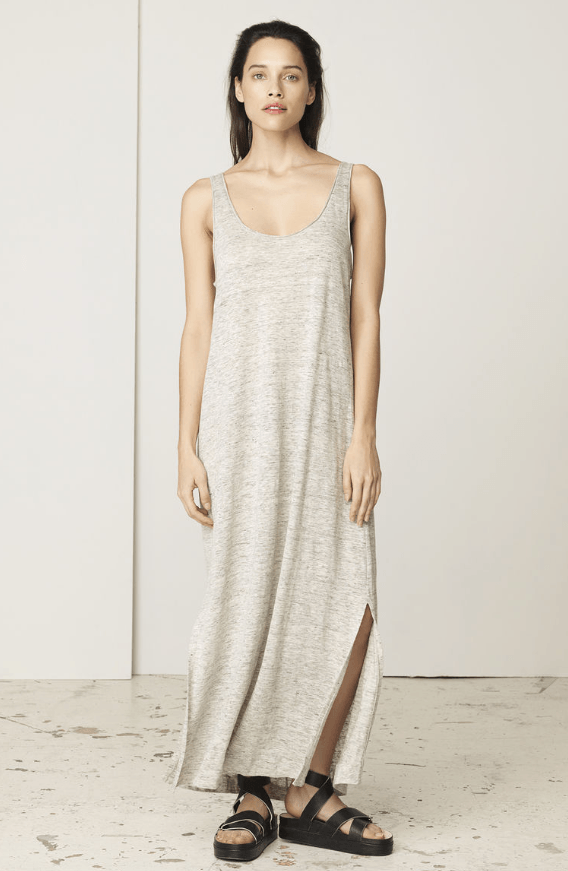 A chic choice for weekends, this effortless linen maxi dress is cut for a loose, relaxed fit and finished with a generous scoop neckline. Keep the look minimal with a tote and slides.