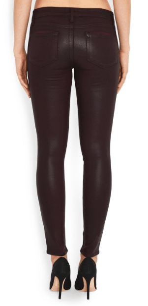 Paige's Verdugo Jean in Wine combines the brand's transcend fiber technology with a super gloss pigment that combines the look of leather with a silhouette that you can live in. The mid-rise Verdugo sits at the waist and fits through the hip, thigh and ankle for a true skinny fit. This denim is crafted with the luxe, Wine wax coating for a sleek look and true, rocker style.  52% Rayon 26% Cotton 18% Polyester 1% Spandex