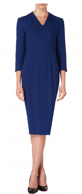 The Eartha dress has been precisely cut to flatter. Designed with diagonal darts from the waist seam to sculpt the most feminine silhouette it also features pleat detail on the neckline and cropped sleeves. In a vibrant blue hue, this dress epitomises ladylike sophistication.