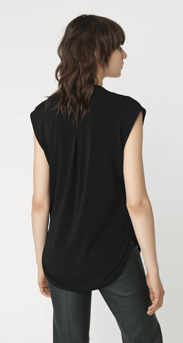 Cut for a regular fit from softly draped stretch-crepe, this feminine top features a plunging V neckline that falls to a deep pleat. Gently rounded hems complete the versatile design. Dress yours up or down according to the occasion.