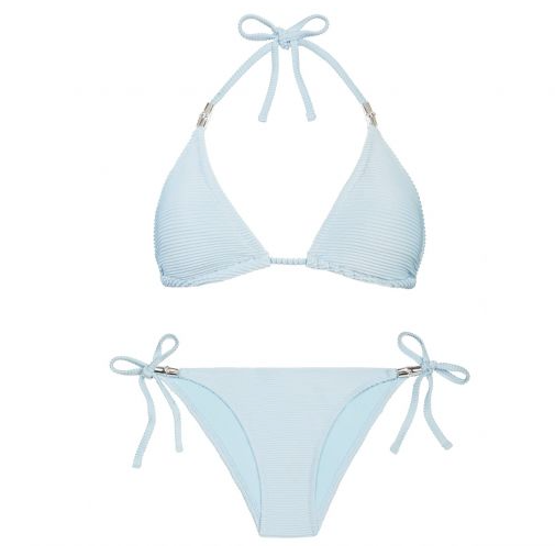 Immerse yourself in the pale aqua waters of ancient Adriatic anchorage Hvar – this ice-cool blue story takes the hues of the dreamy Dalmation coastline and transforms them into elegant rib-textured swimwear embellished with light-reflecting silver hardware.