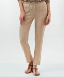 Thank you Hartford for creating a super comfy elasticated waisted linen trouser that still looks elegant.  Featuring a lurex bit of gold at the waist and a slim fit these are the perfect Summer trousers.  Pair with a printed shirt or your favourite tee and you are ready to go.