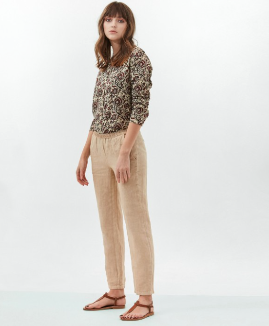 Pirouette Tan Linen Trousers