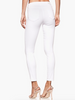 A high rise, super stretchy, ultra skinny cropped jean that is slim from the leg down to the ankle, hugging every curve along the way. This pair comes in a crisp white wash with tonal buttons and a pronounced outseam. Finished with a zip fly and single-button closure. This jean is super stretchy and lighter on the body than typical white denim, making it perfect for warmer temperatures. It's flattering, lightweight, and lends good coverage.