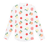 Gorgeous 100% silk shirt with fun citrus print!