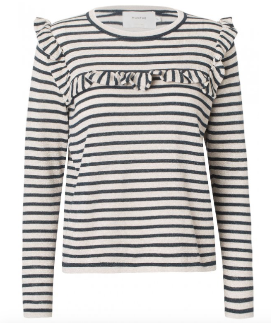 Striped knit top in cotton and lurex with long sleeves, round neck and blonde details at the chest and shoulder. A relaxed way to get a little glitter into your outfit without feeling too dressed up. Style with both skirts and pants, and easy to mix with different patterns.