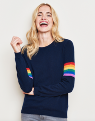 Rainbow Stripe Sleeve Crew Jumper