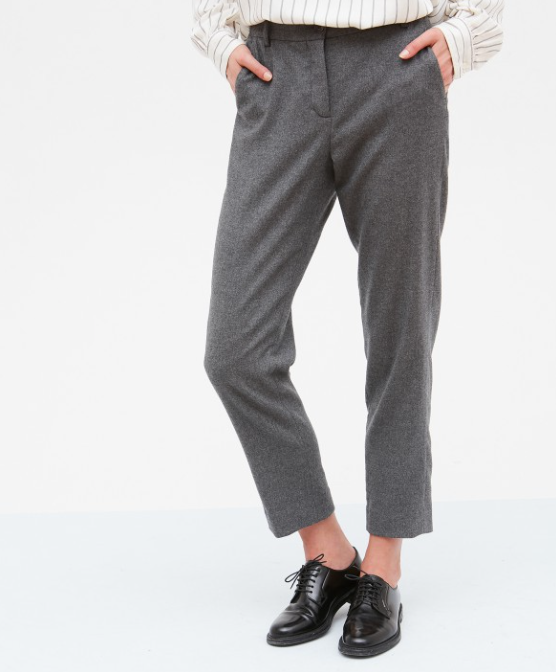 Gorgeous soft flannel trousers from Hartford.  A smart option for work or pair with a trainer for the weekend.  Fabric:  34% Polyester, 33% Viscose, 32% Wool, 1% Elastane