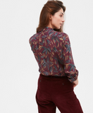 Pretty light viscose blouse with burgundy flower print.  Lovely colour for going into Autumn.