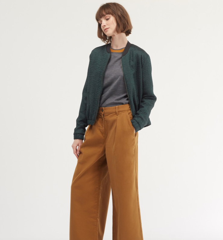 Cool green bomber-ish jacket from Chloe Stora.  Pair with trousers or skirts to complete your look!