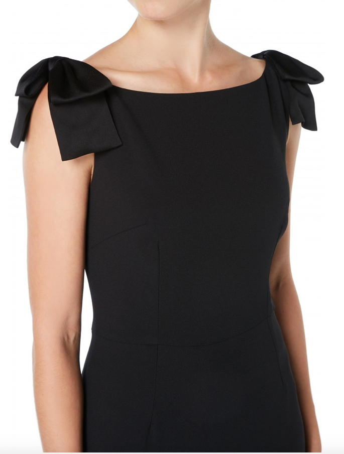 The Georgiana pencil dress is perfectly feminine and sophisticated. Made from light-weight cady the Georgiana is sleeveless with a boat neck and beautiful statement contrast satin bows on the shoulders.