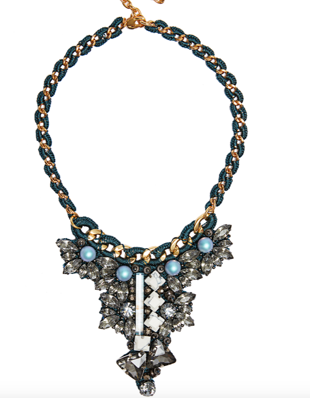 Hand-made 18K Gold and Gunmetal plated necklace featuring Swarovski Crystal Pearls and Resin beads.