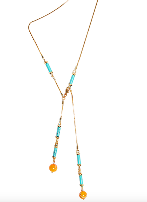 Hand-made 18K Gold plated pendant featuring Synthetic Turquoise and orange Shell Beads.