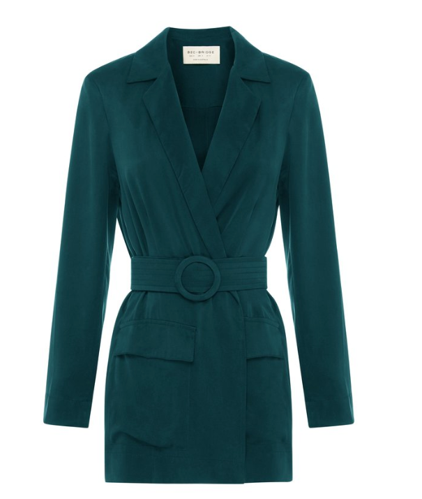 Washed silk satin blazer with matching silk belt feature  matching silk belt with ridged texture matching silk covered buckle matching silk belt loops features two front pockets with pocket flaps can be worn open and relaxed or wrapped up with belt feature 100% SAND-WASHED SILK CHARMEUS