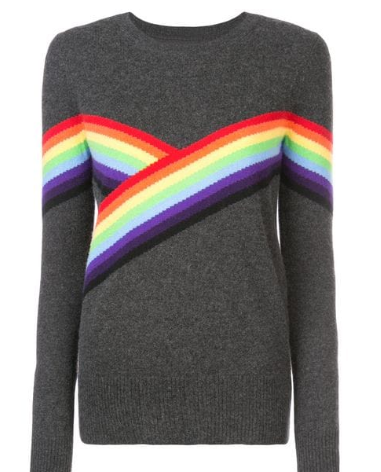 Dark grey cashmere rainbow stripe detail jumper from Madeleine Thompson featuring a round neck, long sleeves and a straight hem.