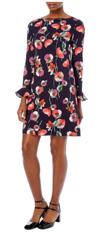 Gorgeous boat neck tunic dress with full length sleeves featuring delicate fluted cuffs from Goat.  Lightweight stretchy fabric with a lined bodice and unlined sleeves.  Hand painted watercolour anemone print in red.  Perfect for day or evening.