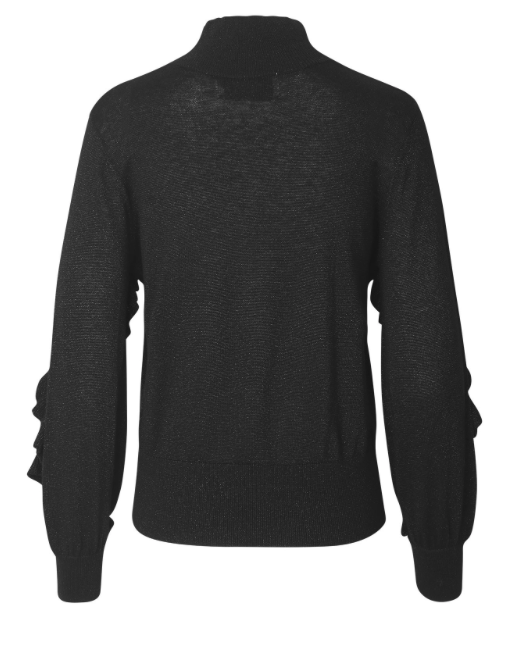 Jumper in soft cotton with long sleeves and a metallic look. A frill goes from the chest and down along the sleeves. An easy-to-use knit, which immediately becomes a favourite in the wardrobe