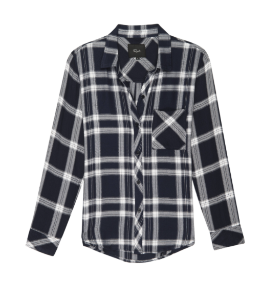 Ultra soft, plaid button-down. Single layer with one chest pocket.  100% Rayon. Loose weave.