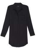 Ultra soft, long sleeve button down shirt-dress. Single layer, single chest pocket.  100% Rayon.