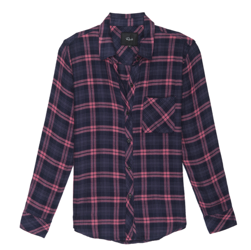 Ultra soft, brushed rayon, plaid button-down. Single layer with one chest pocket.  100% Rayon. Loose weave.