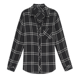 Ultra soft, black and white plaid button-down with with multi-color speckle detail throughout. Single layer with one chest pocket.  100% Rayon.