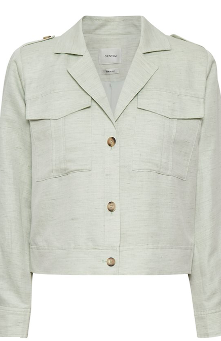 Military inspired jacket from uber cool Danish brand Gestuz.  In a feminine light green this jacket will look great over a tee paired with denim.  Or wear it as a top with white jeans.