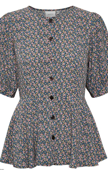 Feminine floral print blouse from uber cool Danish brand Gestuz.  With a pretty peplum shape nipped in at the waist and puffy sleeves this will suit most figures.  Pair with your favourite denim.