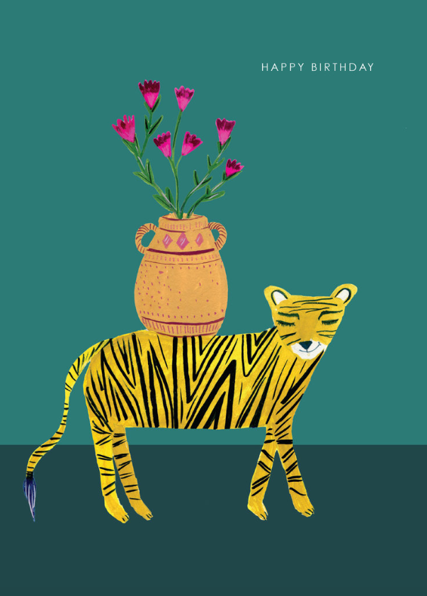 Tiger with Flowers Card