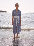 A beautiful shirt dress from our favourite luxury Italian brand, Amina Rubinacci.  Slip into this and feel like you've been transported to the Italian coast. This can be worn casually with trainers, elegantly with flat sandals or dressed up with a strappy high heel.  Please note the belt included with the dress is a fabric belt and in the image the sleeves are rolled up - they are full length sleeves.