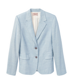Created from fine Italian woven twill this lovely fitted jacket from Rebecca Taylor in the palest blue features a classic shape and a two button closure.  Paired with the smart trousers that match you have the perfect modern silhouette that will take you anywhere.  We love a multiple use piece and this is that - it works equally well with denim for a more relaxed weekend vibe or a smart skirt.  Your new jacket sorted.