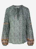 Relaxed feminine top in a beautiful mint green print from uber cool Skandi brand Munthe.  Munthe have a gift for creating feminine pieces with an edge.  Wear in Summer with your white denim and then with a black skirt or denim going into Autumn.