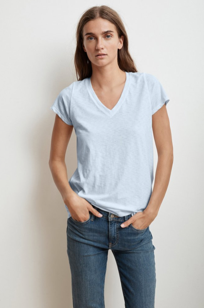 Jill City Cotton Slub Ice V-Neck Tee