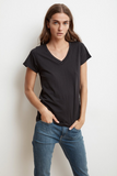 Jill City Cotton Slub Ink V-Neck Tee