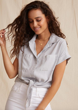 The Cap Sleeve Tie Front Shirt from Bella Dahl is crafted from the softest fabric and features the perfect v neck and relaxed shape. Pair with your white jeans for a relaxed weekend look.  You'll want this in every colour!