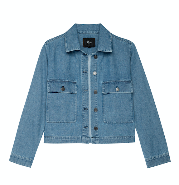 Another great throw over anything jacket from Rails.  Steffi is a classic non stretch denim jacket with 2 large path pockets and buttons down the front in a great mid wash blue.